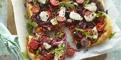Boodschappen - Plaattaart met geitenkaas en tomaat