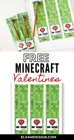 Free Minecraft Valentine's Day Printable. Be Mine (craft)   Pair with a pick axe pencil, use as a bookmark, or wrap around a small box for a unique Minecraft Valentine. Valentines For Boys, Valentine Box, Valentines Day Party, Valentine Crafts, Valentine Ideas, Minecraft Party, Minecraft Crafts, Minecraft Skins, Valentine's Cards For Kids
