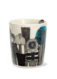 "Tea cup -- Marimekko -- design by Maija Louekari : ""Siirtolapuutarha-muki"" Marimekko, Graphic Design Print, Good Company, Mug Cup, Mug Designs, Home Decor Items, Textile Design, Interior Decorating, House Design"