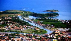 Aerial view of the river that gives the name to the city, Rio das Ostras (Oyster River)