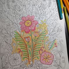 So much fun to add a little colour to a black and white print!  Finished up this coloring page today and couldn't wait to see what it looked like colored, I'm on a roll!   #coloringpagesforadults