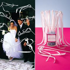 Ribbon wands for leaving weddings instead of rice, baubles, or balloons. Could be customized with wedding colors instead of white, for more interesting photos.