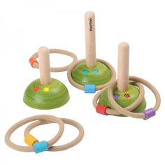Practice your aim with this beautifully made Plan Toys Meadow Ring Toss game. Set features 6 colour coded rope rings and 3 wooden posts of various heights Games For Kids, Activities For Kids, Toddler Games, Wooden Posts, Plan Toys, Green Toys, Eco Friendly Toys, Ring Toss, Toss Game