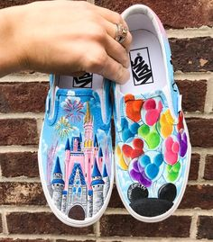 Disney Castle and Mickey Balloons Custom Vans Shoes, Custom Painted Shoes, Painted Vans, Hand Painted, Disney Vans, Disney Shoes, Disney Mickey, Mickey Mouse, Vans Shoes Fashion