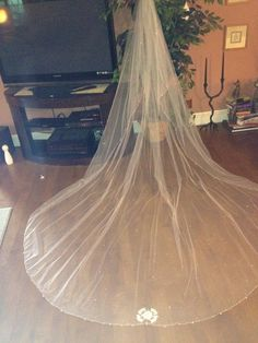 DIY beaded Cathedral train veil