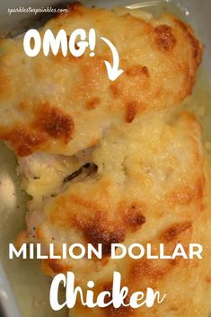 Million Dollar Chicken is an easy baked cheesy garlic chicken. A great chicken recipe to whip up for a busy week night. My million dollar chicken recipe will win over a crowd or your family with one single bite. Pin for Later! Great Chicken Recipes, Chicken Tender Recipes, Turkey Recipes, Great Recipes, Favorite Recipes, Dinner Recipes, Easy Summer Meals, Summer Recipes, Million Dollar Chicken