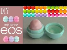 DIY: Make Your Own EOS Lip Balm! (Recycle Old EOS Container) - Australeya on YouTube; For a super vegan & allergen free alternative, use avocado butter instead of petroleum jelly, & use more natural crayons w/soy wax & such in it (crayons & petroleum jelly are a petro oil byproduct), OR use the juices from strawberries, blueberries, blackberries or pomegranate as natural food coloring.