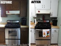 Image Of Painting Laminate Kitchen Cabinets Before And After
