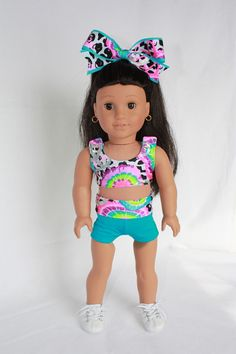 "American Girl 18"" Doll Clothes and Accessories - Cheer Sports Bra and Shorts - Cheetah Peace on Etsy, $20.00"