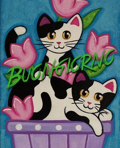 photo black white Whats black and white and pink all over? Two silly cats in a tulip pot! This is a PRINT of my original acrylic-on-canvas painting. It would look cute matted & frame Art Drawings For Kids, Drawing For Kids, Art For Kids, Cycle Painting, Wal Art, Art Populaire, Cat Art Print, Cat Quilt, White Cats