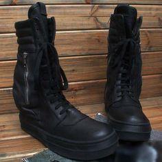 Designer Black Leather Lace Up Gothic Punk Military Combat Boots Men SKU-1280179