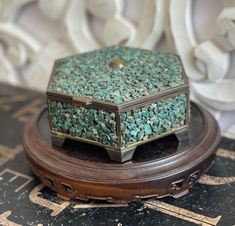 Beautiful Brass Trinket Box covered w/ Raw Turquoise Chips,vintage box,boho chic,eclectic decor,unpolished turquoise,semi-precious stone box by VintageSummersLtd on Etsy