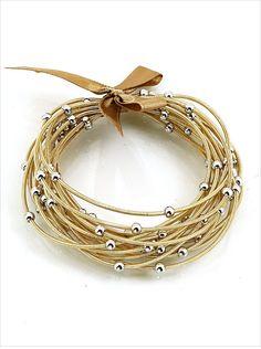 Noche Slinky Bracelets by the dozen {Gold with Silver Beads}