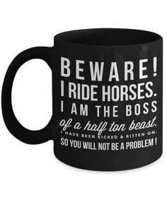 Beware I Ride Horse-Horse Gifts For Women-Horse Gifts For Horse Lovers-Horse Rider Gifts-Horse Related Gifts-Horse Gifts For Teens-Horse Mug-Horse Coffee Mug-Horse Mug Set-Horse Themed Gifts-YesEcart