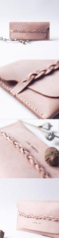 Handmade leather long women braided tooled wallet wallet purse wallet