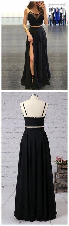 Two Pieces Prom Dress,Black Prom Dress,Chiffon Prom Dress,A line Prom Dress #amyprom #longpromdress #2018prom #promdress