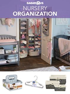 With all the things baby needs, the #nursery can get messy fast. No worries—these stylish #storage helpers will keep everything in its place, ready to grab. Think neat closet keepers like a multi-pocket, over-the-door organizer, plus a couple of hanging shelf organizers to hold clothes and small toys; and of course, lots of small-sized hangers. Handy for the changing table: a diapering caddy to stash essentials. Finally, a matched set of storage baskets to instantly turn clutter into… Over The Door Organizer, Nursery Décor, Nursery Organization, Diapering, Babies R Us, Hanging Shelves, Toys R Us, Baby Needs, Storage Baskets