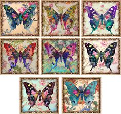 Vintage Inspired Butterfly Colorful Note Cards Set  8 With Envelopes Organza Bag