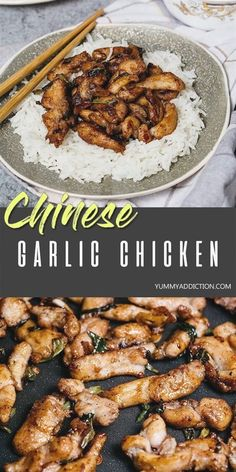 2 reviews · 25 minutes · Gluten free · Serves 2 · This better-than-takeout Chinese Garlic Chicken makes a perfect weeknight dinner as it's really easy to make and is ready in under 30 minutes. The whole family will love this Asian inspired dish! #Chinese #Asian #takeout #chicken Chinese Garlic Chicken, Garlic Chicken Recipes, Korean Chicken, Korean Beef, Fried Chicken, Chicken Bites, Butter Chicken, Garlic Butter, Healthy Garlic Chicken