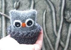 Adopt a Baby Owl ... angora eco wool felt owl nest choose one (1) Chai, Vanilla or Heather (woolcrazy)
