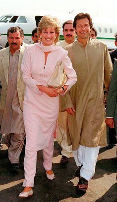 Lady Diana and Imran Khan (Former Cricket player now a politician) at Lahore airport - Pakistan.