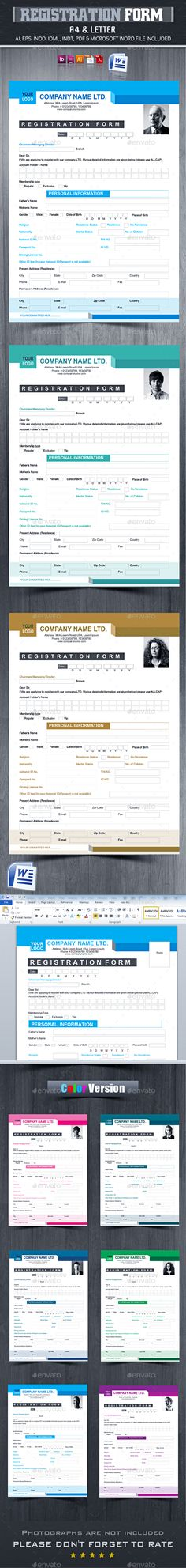 Registration Form V  Registration Form Photoshop And Print