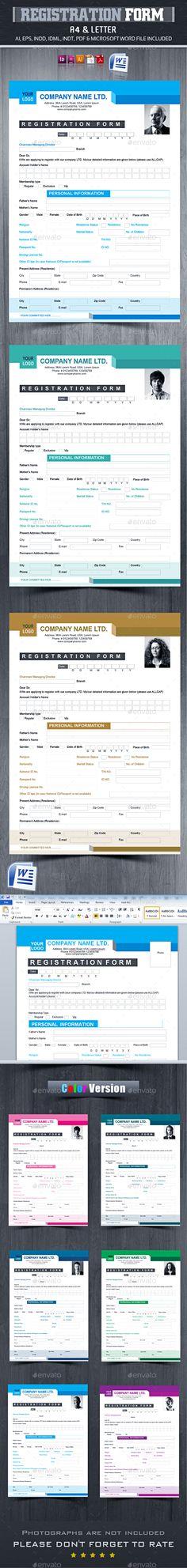 Registration Form V_04 Registration form, Photoshop and Print - membership forms templates