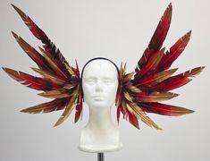 Fuego rojo Phoenix plumas tocado de casco por Fairytas en Etsy