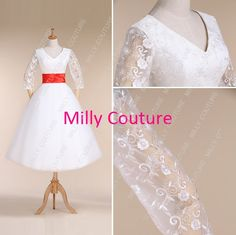 3/4 lace sleeved tea length wedding dress vintage by MillyCouture, $239.00