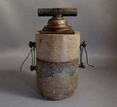A Small Concrete and Metal Jar by TheCeremonialHome Ceramic Boxes, Ceramic Teapots, Ceramic Clay, Ceramic Pottery, Kintsugi, Clay Design, Ceramic Design, Ikebana, Concrete Art
