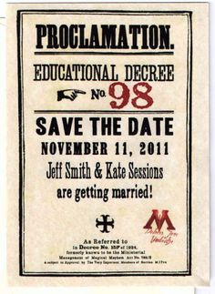 Harry Potter save the date.. love