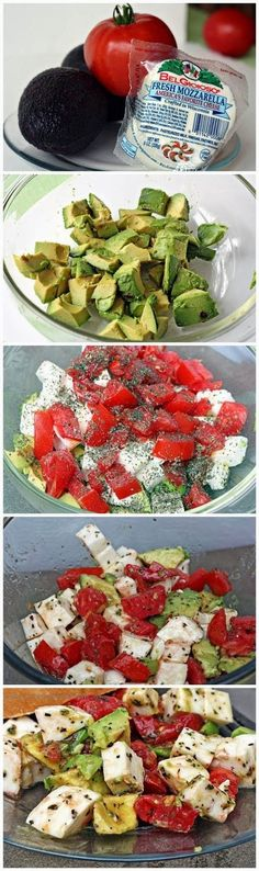 Mozzarella Avocado Tomato Salad  Ingredients:- 2 avocados (peeled, pitted, & cubed) 2 - 3 tomatoes (cubed) 1 ball fresh mozzarella cheese (cubed) 2 Tbsp extra virgin olive oil 2 tsp. basil (we used dried, but you could use fresh) salt & pepper (to taste...I like it saltier than Dakota does)