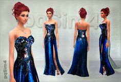 Bright Night Party Dress at pqSims4 via Sims 4 Updates