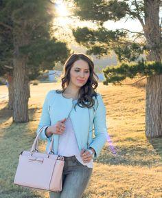 Pastels :: Light Blue Leather Jacket & Grey Denim