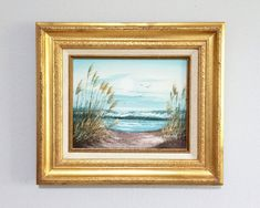 Seascape Painting with Dunes Beach Grass Gulls by WhiteFlyVintage