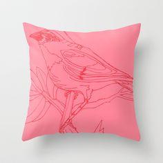 Pink Bird Throw Pillow by Kelly Reynolds - $20.00