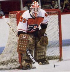 """Philadelphia Flyers - Michel """"Bunny"""" Larocque Rangers Hockey, Hockey Goalie, Hockey Mom, Ice Hockey, Hockey Stuff, Flyers Players, Flyers Hockey, Hockey Games, Hockey Players"""