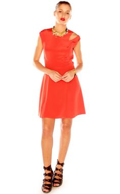 Nomia Flared Dress with Shoulder Cut-Out