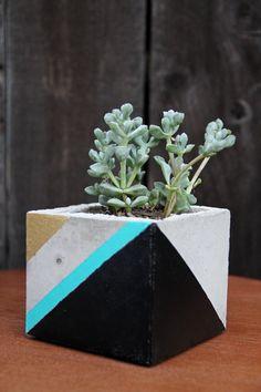 Concrete Cement Planter Medium Modern Industrial Tri Color Gold, Teal Dark Gray Geometric Triangle Pattern Succulent Cactus Cacti Home Decor
