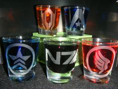 Set of Mass Effect 5 etched shot glasses by AtomicSnot on Etsy, $25.00