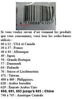 Because we do not always find the provenance on what we want to buy, but that there is always a barcode. Source: The OCA Gazette (the lab where I work) that they do not cite source. Code Barre, Tips & Tricks, Things To Know, Good To Know, Helpful Hints, Fun Facts, Knowledge, Martini, Coding