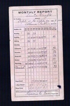 An old report card from Cool Picks, Arithmetic, Grammar, Spelling, Bullet Journal, Study, Writing, Reading, Studio