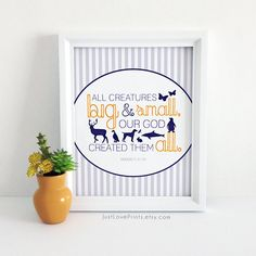 """All creatures big and small, our God created them all."" Genesis 20-24 This print is fully customizable to fit your little one's decor to a tee! Only at JustLovePrints.etsy.com"