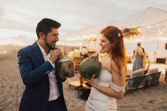 Bride and Groom Sip On Coconuts For Ecuador Beach Wedding Coastal Wedding Centerpieces, Wedding Decorations, Bridesmaid Dress Colors, Beach Ceremony, Coconuts, Ecuador, Groom, Reception, Couple Photos