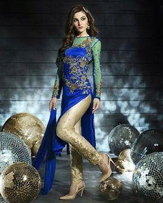 Blue Net Pakistani Style Suit 58096