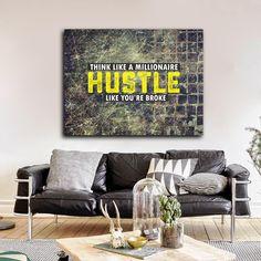 Hustle Wall Art Think Like A Millionaire Hustle Like Your Broke Framed Canvas Wall Art Motivational Art - Royal Crown Pro