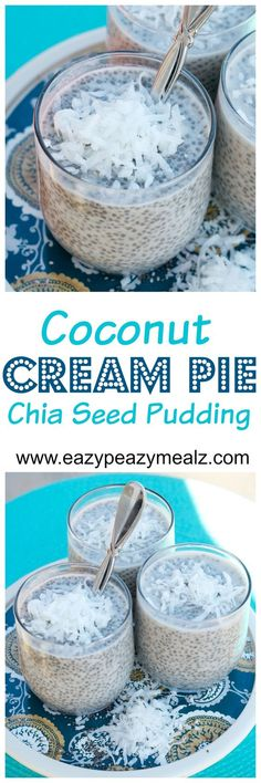 Coconut Cream Pie Chia Seed Pudding - Omit Honey for Vegan Recipe - Is it dessert? Is it breakfast? Who cares! It is healthy, easy to make, and tastes amazing! This is my favorite go to healthy breakfast! Healthy Sweets, Healthy Snacks, Healthy Recipes, Breakfast Healthy, Dessert Healthy, Keto Chia Seed Recipes, Dessert Simple, Chia Seed Breakfast, Chia Pudding Breakfast