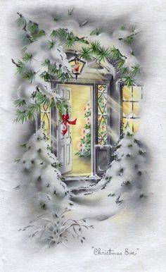 Open door at Christmas.