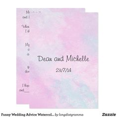 Shop Funny Wedding Advice Watercolor Comment Cards created by longdistgramma. Funny Wedding Advice, Wedding Advice Cards, Wedding Humor, Custom Invitations, Party Invitations, Happy Marriage, Paper Design, Wedding Planning, How To Plan