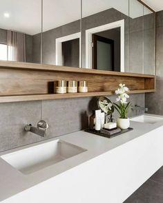 55 Stunning Farmhouse Bathroom Mirror Design Ideas And Decor - . 55 Stunning Farmhouse Bathroom Mirror Design Ideas And Decor - Always aspired. Bathroom Styling, Bathroom Mirror Design, House Interior, Small Bathroom, Bathroom Interior Design, Amazing Bathrooms, Bathroom Decor, Bathroom Design, Farmhouse Bathroom Mirrors